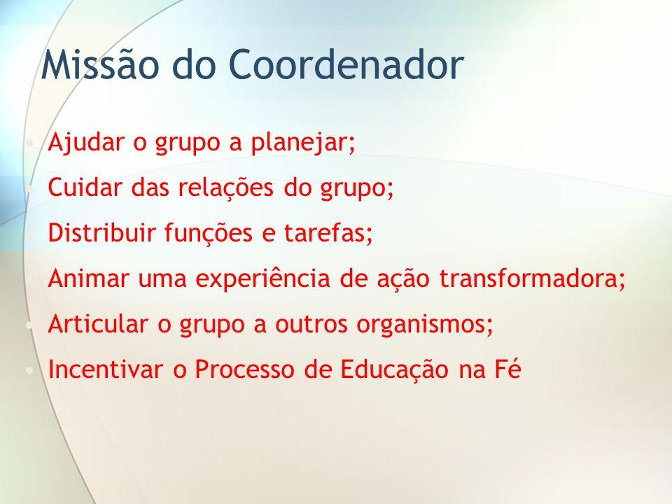Missão do Coordenador Ajudar o grupo a planejar;