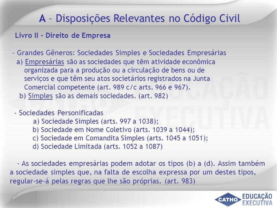 A – Disposições Relevantes no Código Civil