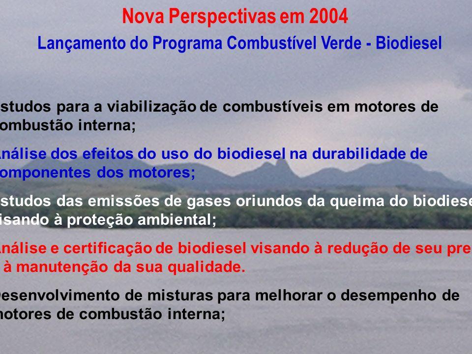 Nova Perspectivas em 2004 Lançamento do Programa Combustível Verde - Biodiesel.