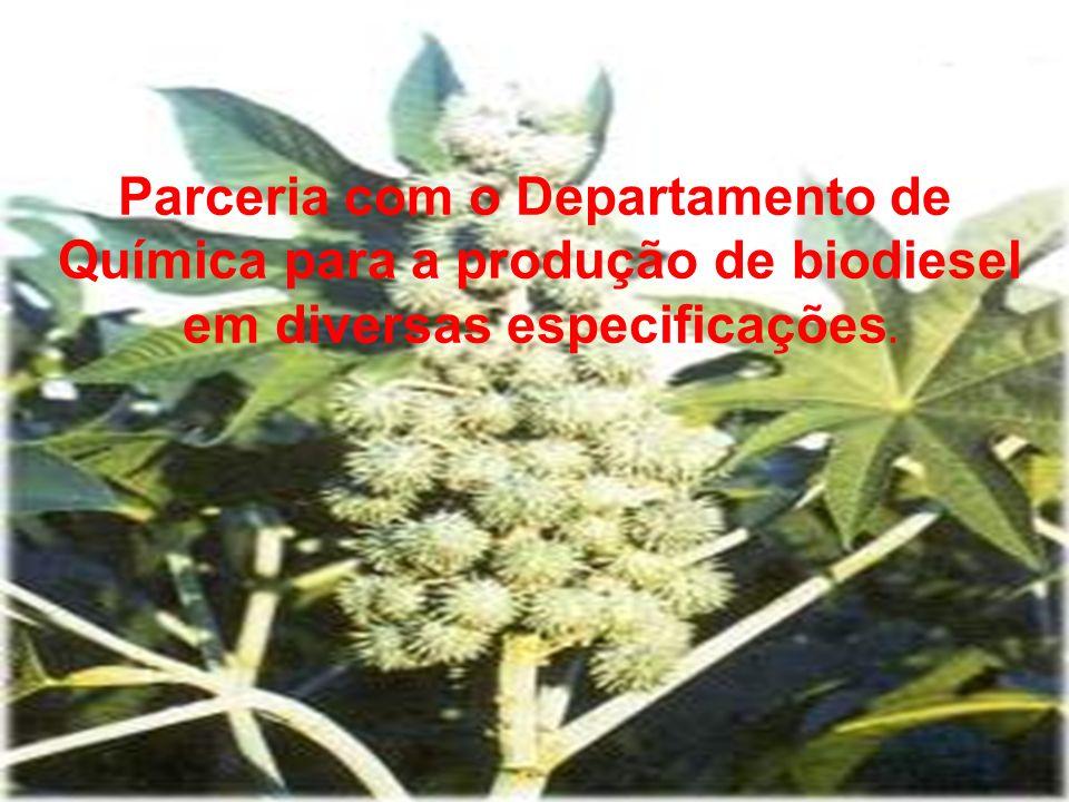 Parceria com o Departamento de Química para a produção de biodiesel em diversas especificações.