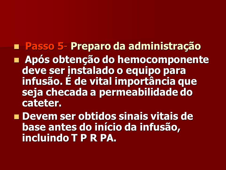 Passo 5- Preparo da administração