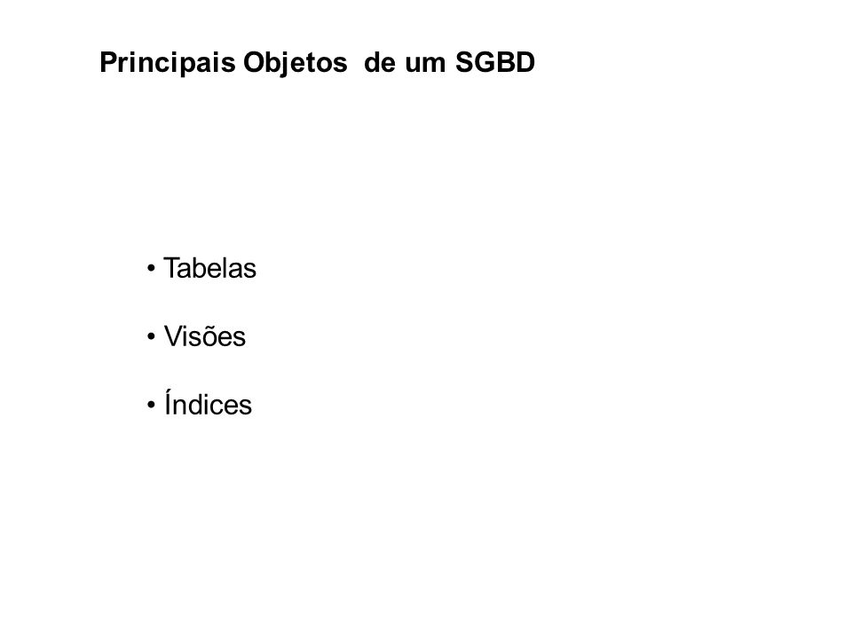 Principais Objetos de um SGBD