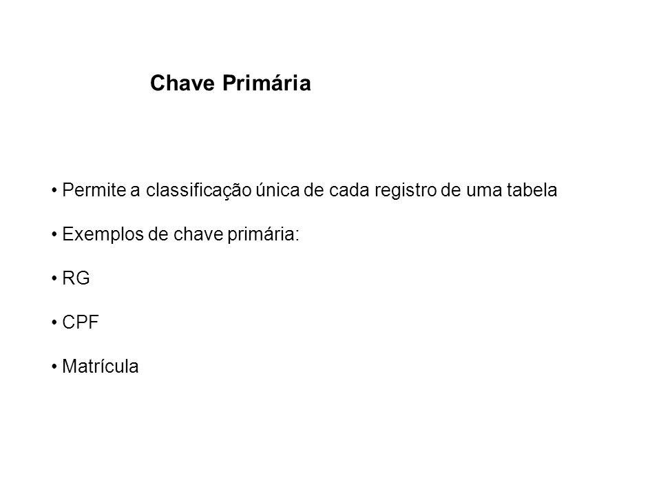 Chave Primária Permite a classificação única de cada registro de uma tabela. Exemplos de chave primária: