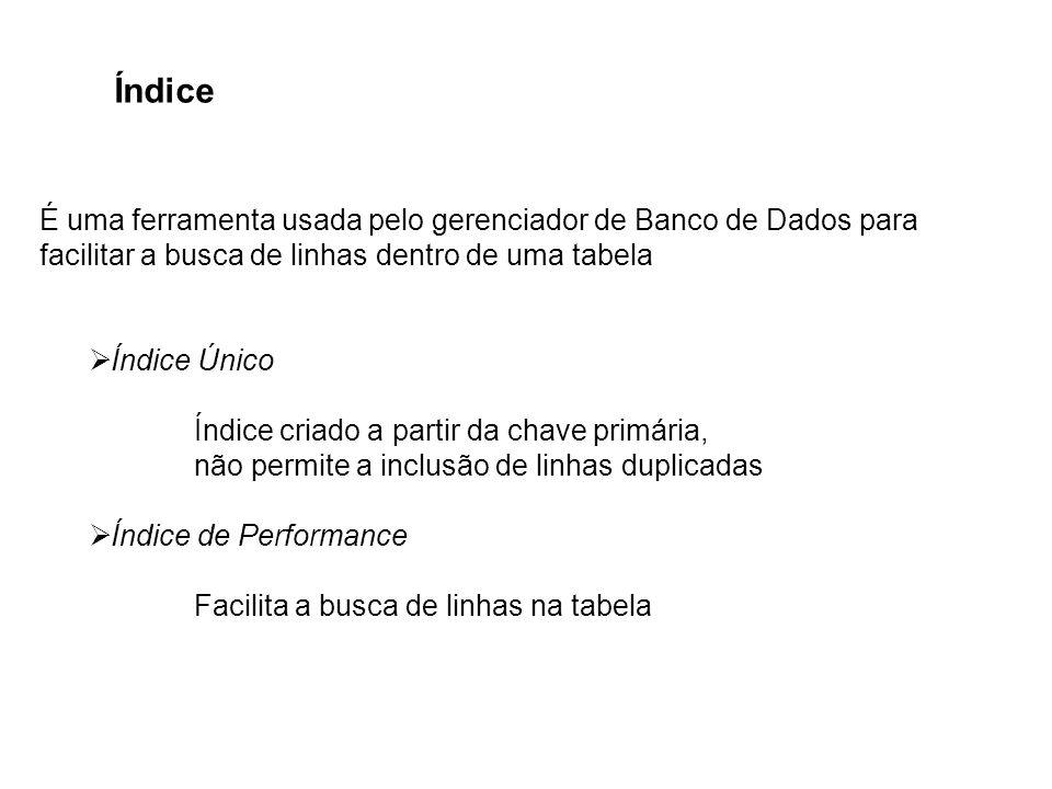 Índice É uma ferramenta usada pelo gerenciador de Banco de Dados para facilitar a busca de linhas dentro de uma tabela.