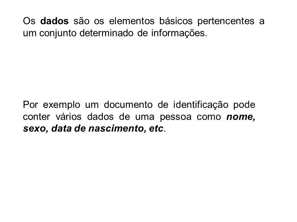 Os dados são os elementos básicos pertencentes a um conjunto determinado de informações.