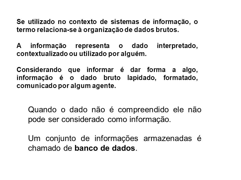 Um conjunto de informações armazenadas é chamado de banco de dados.
