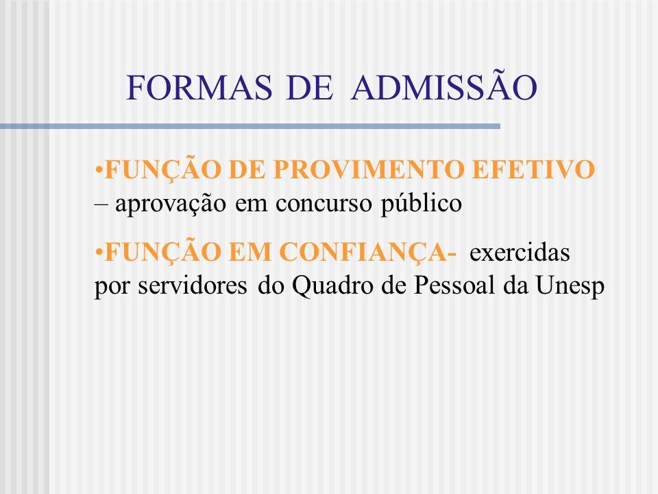 FORMAS DE ADMISSÃO FUNÇÃO DE PROVIMENTO EFETIVO – aprovação em concurso público.