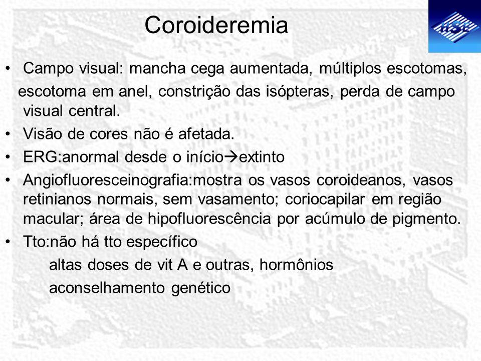 Coroideremia Campo visual: mancha cega aumentada, múltiplos escotomas,