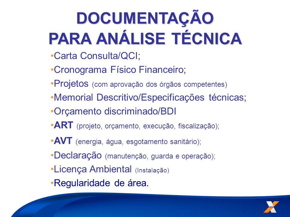 DOCUMENTAÇÃO PARA ANÁLISE TÉCNICA