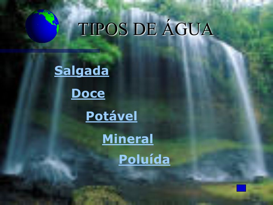 TIPOS DE ÁGUA Salgada Doce Potável Mineral Poluída