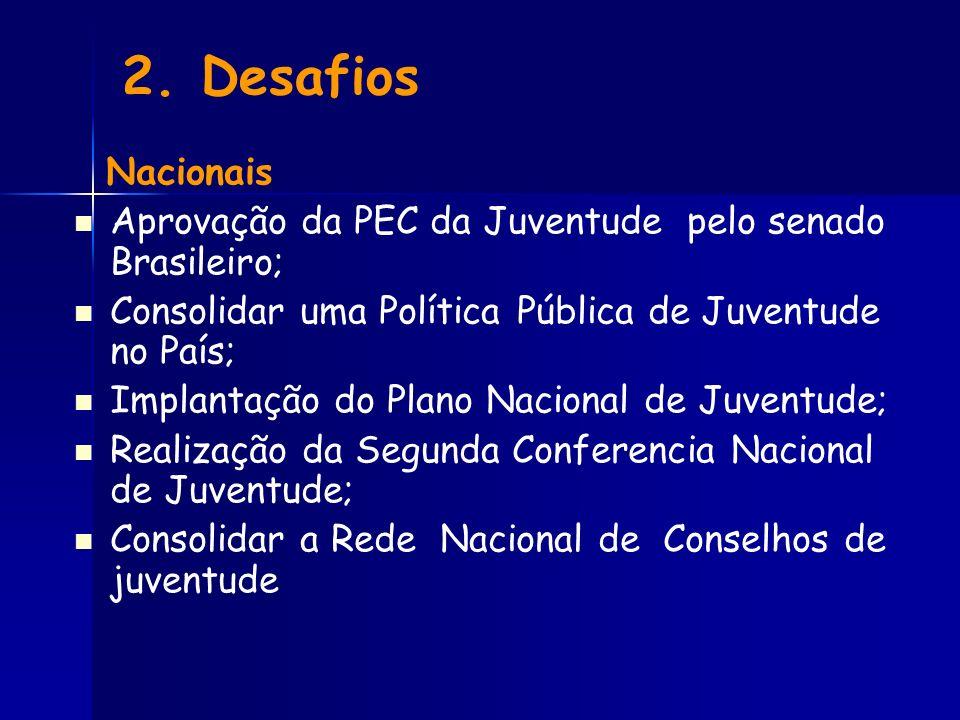 2. Desafios Nacionais. Aprovação da PEC da Juventude pelo senado Brasileiro; Consolidar uma Política Pública de Juventude no País;