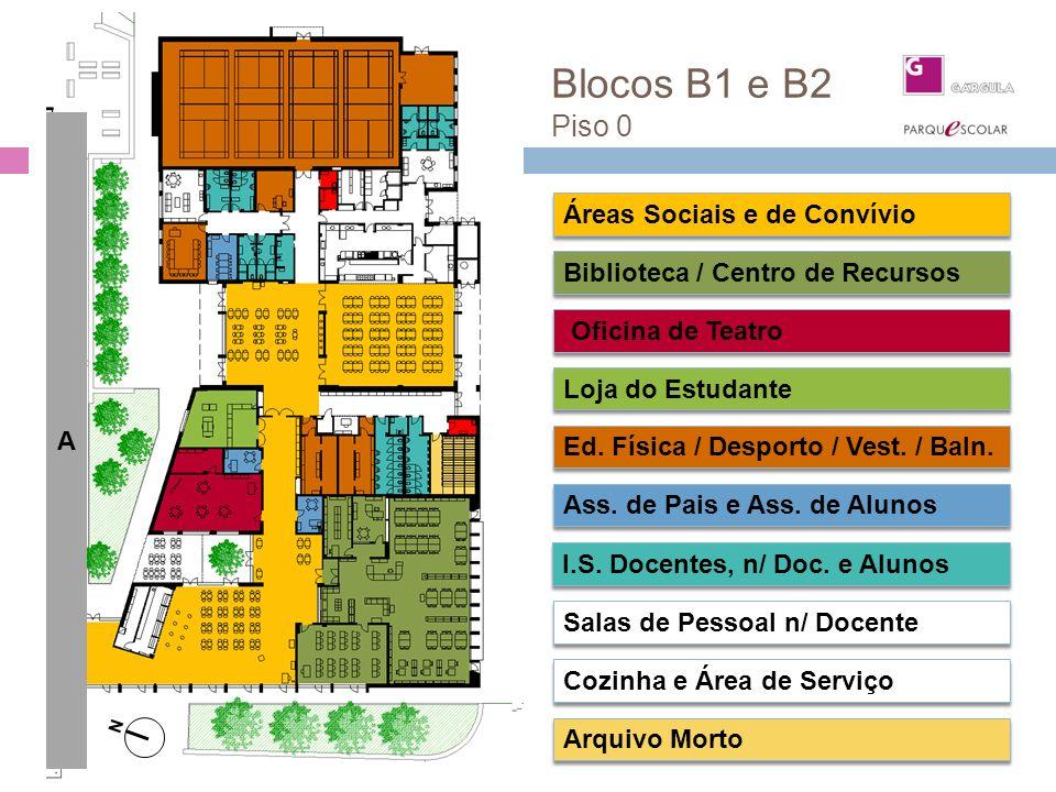 Blocos B1 e B2 Piso 0 Áreas Sociais e de Convívio