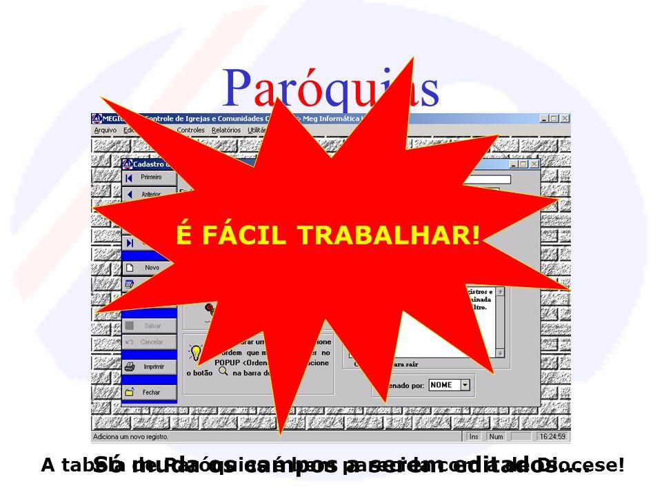 Paróquias É FÁCIL TRABALHAR! Só muda os campos a serem editados....