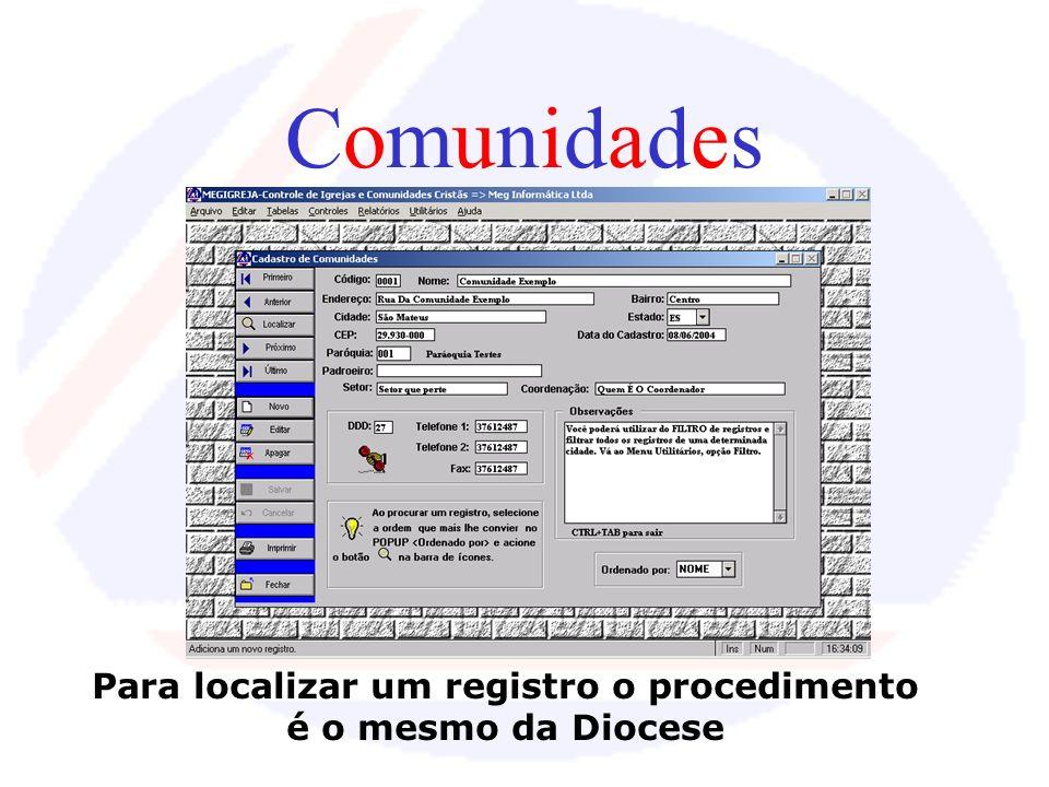 Para localizar um registro o procedimento é o mesmo da Diocese