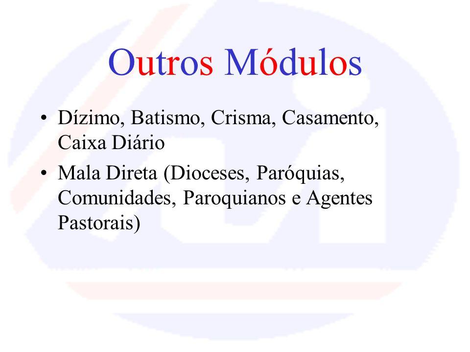 Outros Módulos Dízimo, Batismo, Crisma, Casamento, Caixa Diário