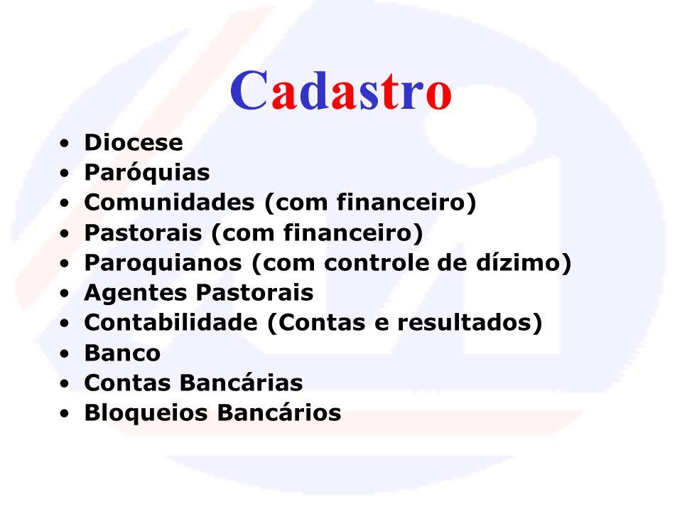 Cadastro Diocese Paróquias Comunidades (com financeiro)