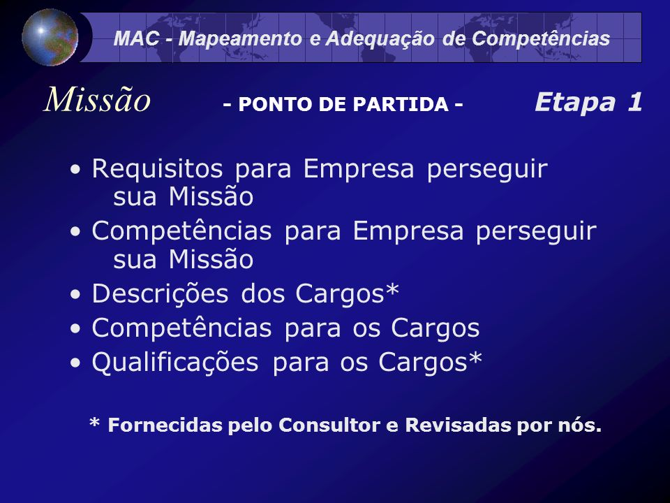 Missão - PONTO DE PARTIDA - Etapa 1
