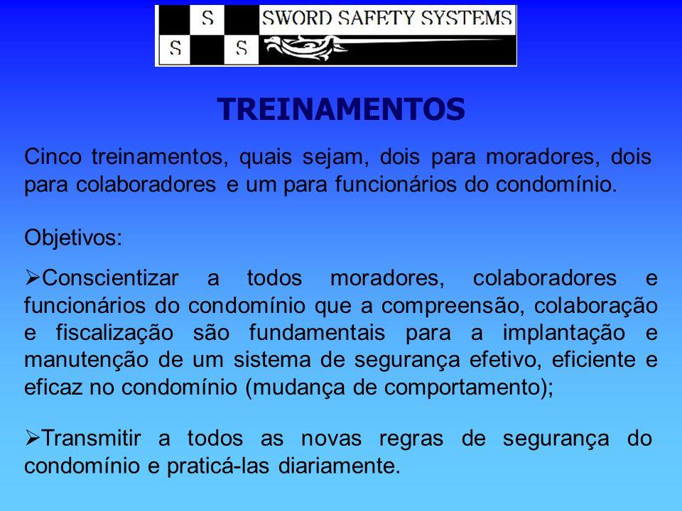 TREINAMENTOS Cinco treinamentos, quais sejam, dois para moradores, dois para colaboradores e um para funcionários do condomínio.