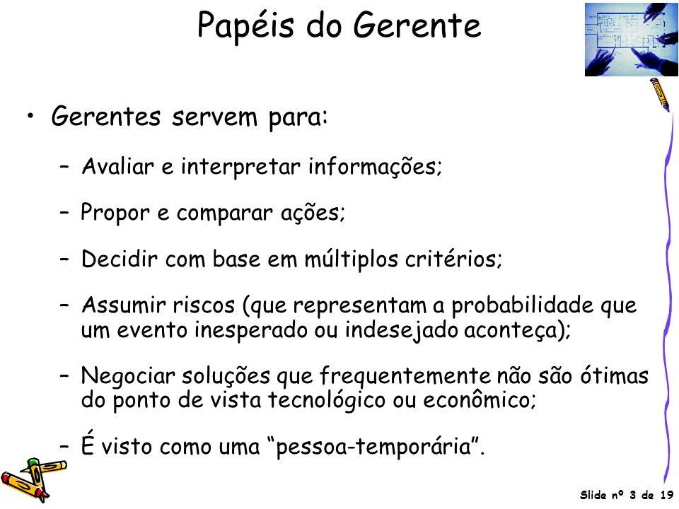 Papéis do Gerente Gerentes servem para: