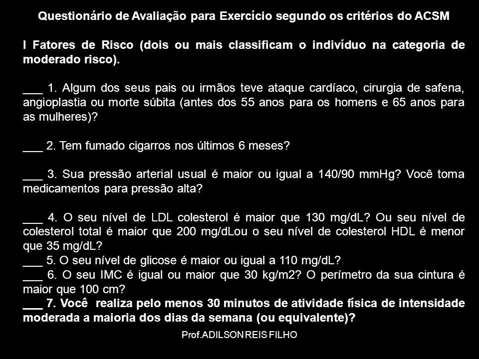 Questionário de Avaliação para Exercício segundo os critérios do ACSM