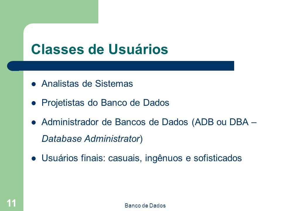 Classes de Usuários Analistas de Sistemas