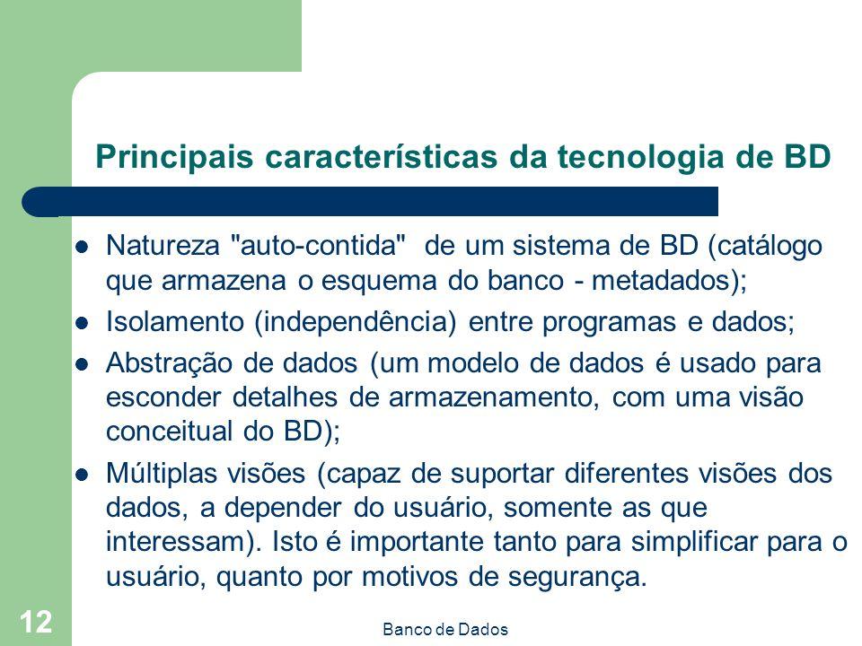Principais características da tecnologia de BD