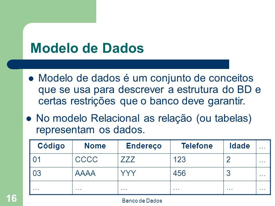 Modelo de Dados Modelo de dados é um conjunto de conceitos que se usa para descrever a estrutura do BD e certas restrições que o banco deve garantir.