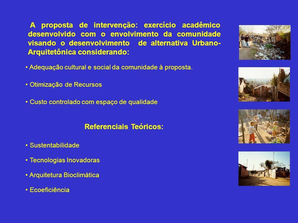 A proposta de intervenção: exercício acadêmico desenvolvido com o envolvimento da comunidade visando o desenvolvimento de alternativa Urbano-Arquitetônica considerando:
