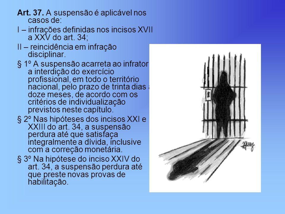 Art. 37. A suspensão é aplicável nos casos de: