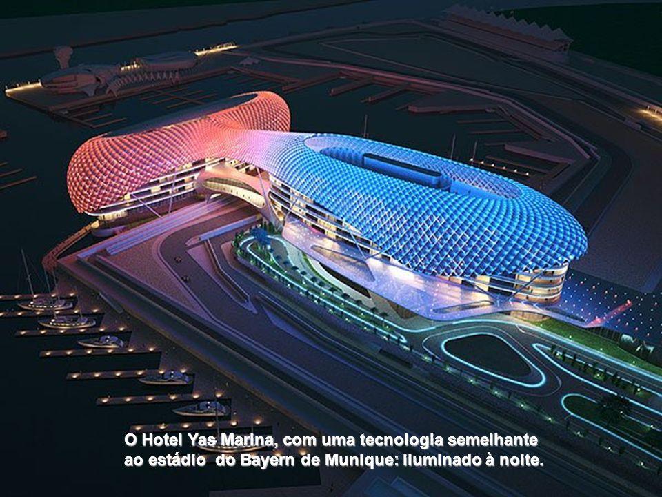 O Hotel Yas Marina, com uma tecnologia semelhante ao estádio do Bayern de Munique: iluminado à noite.