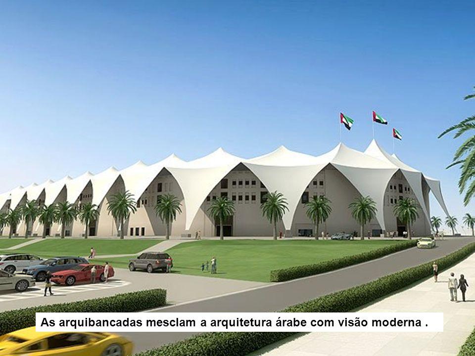As arquibancadas mesclam a arquitetura árabe com visão moderna .