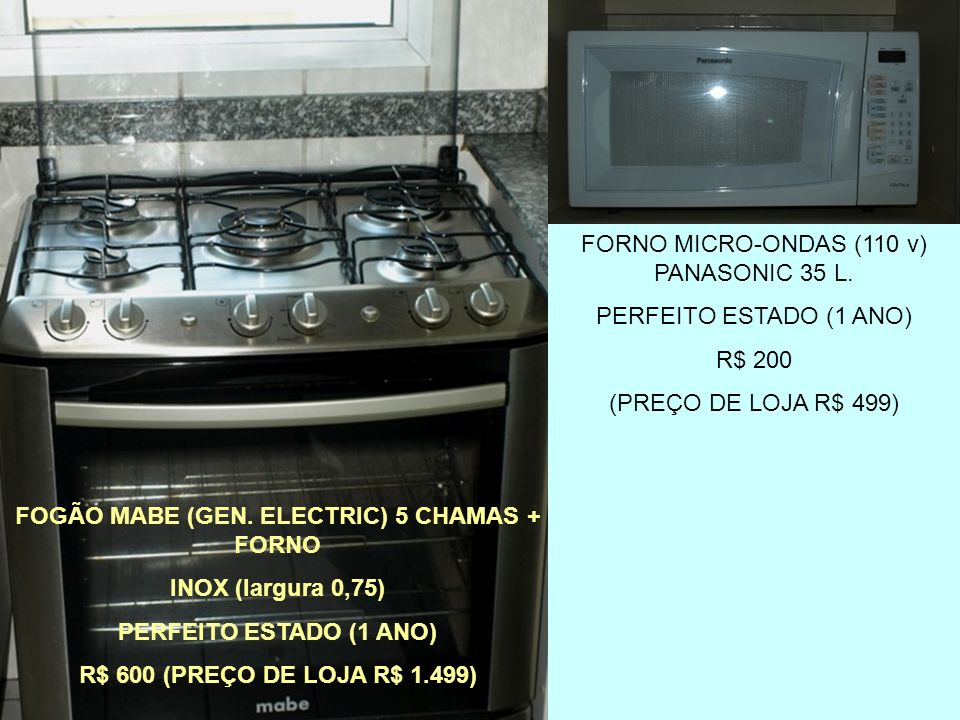 FOGÃO MABE (GEN. ELECTRIC) 5 CHAMAS + FORNO