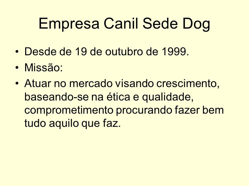 Empresa Canil Sede Dog Desde de 19 de outubro de 1999. Missão: