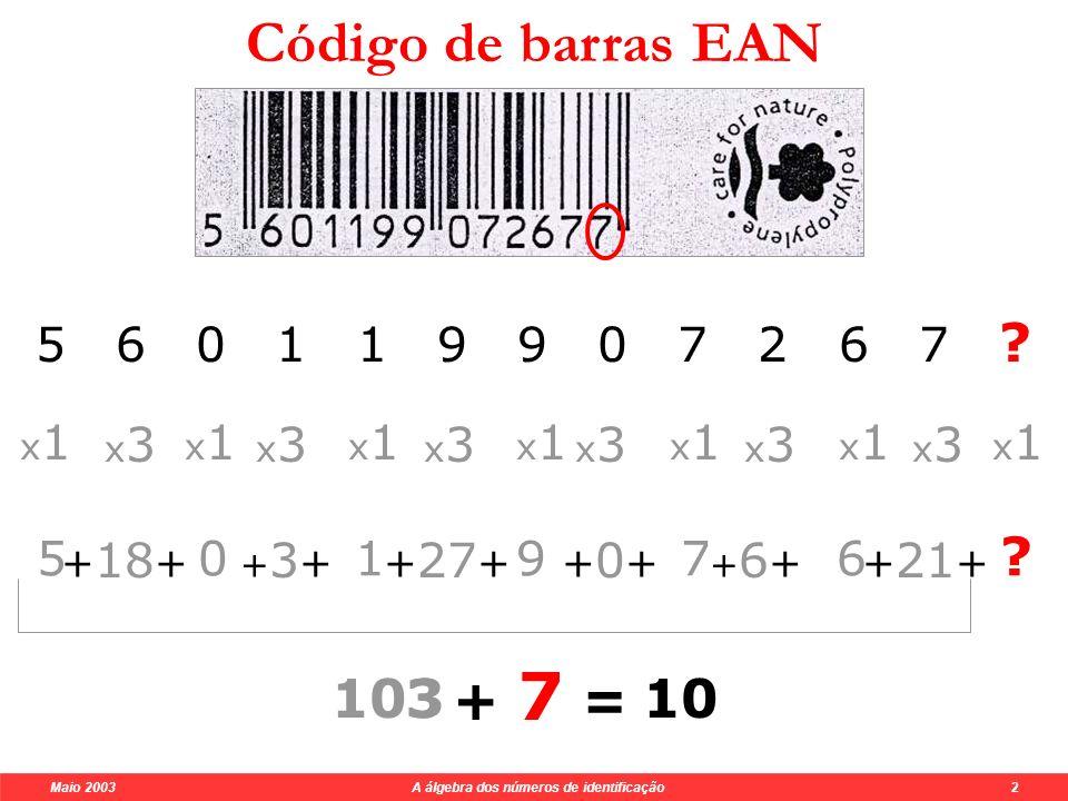 Maio 2003 A álgebra dos números de identificação 2