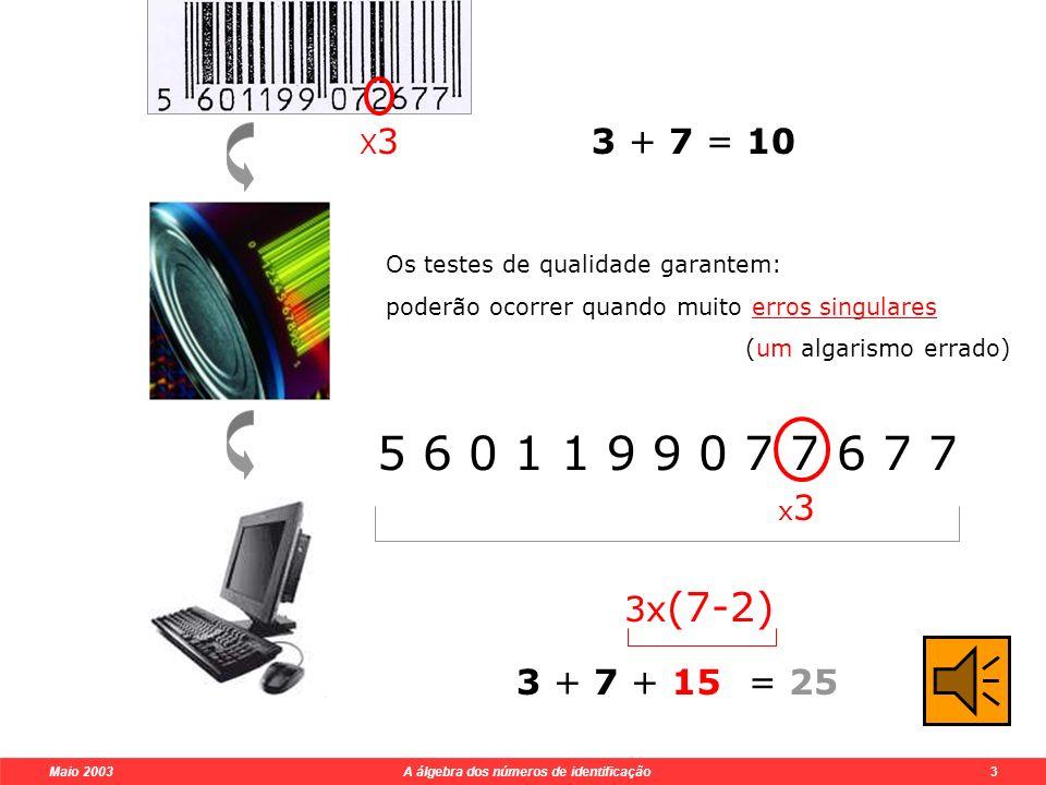 Maio 2003 A álgebra dos números de identificação 3