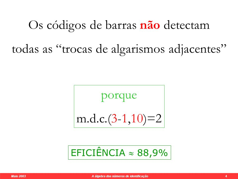 Maio 2003 A álgebra dos números de identificação 4