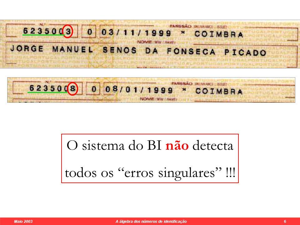 Maio 2003 A álgebra dos números de identificação 6