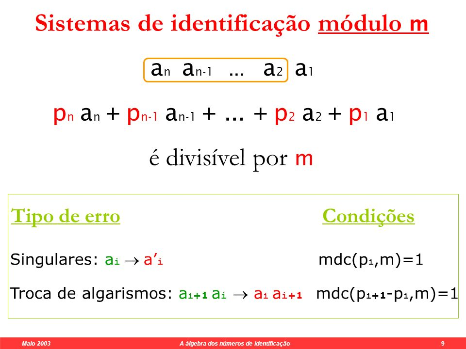 Sistemas de identificação módulo m