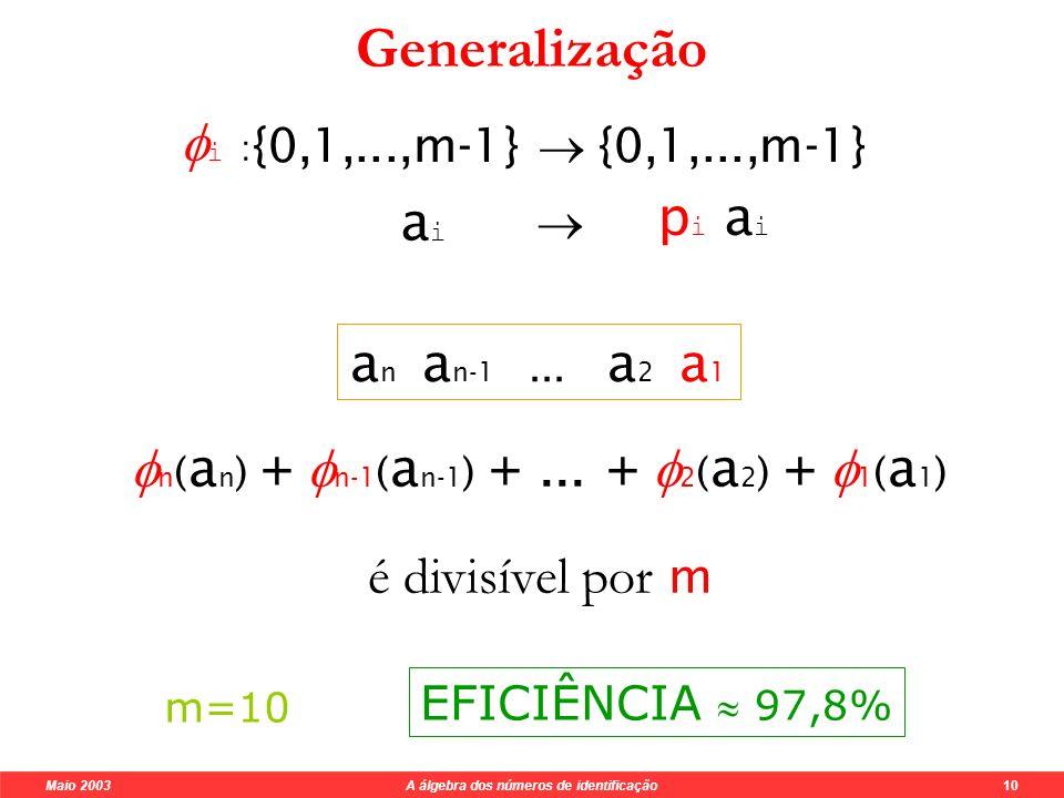 Maio 2003 A álgebra dos números de identificação 10