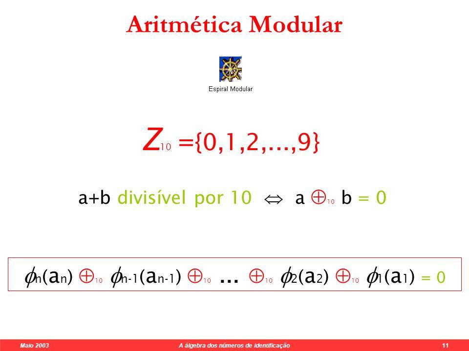 Maio 2003 A álgebra dos números de identificação 11