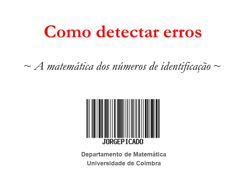 Departamento de Matemática Universidade de Coimbra