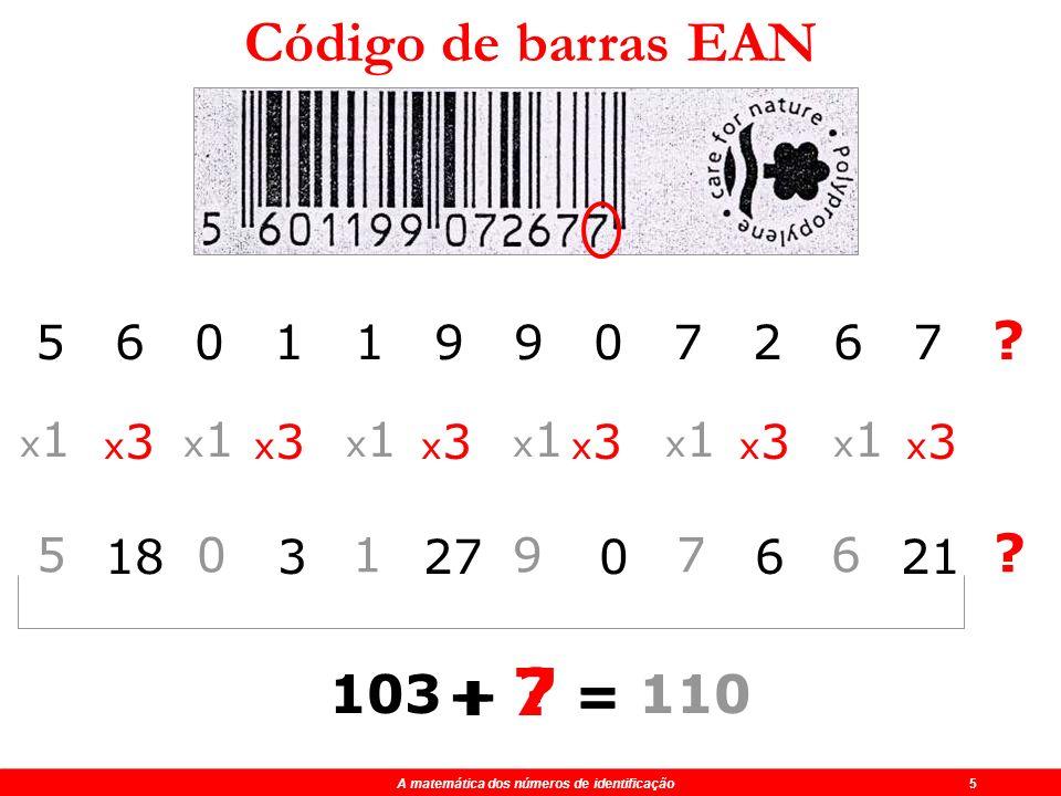 Código de barras EAN + 7 = + = 103 110 5 6 0 1 1 9 9 0 7 2 6 7