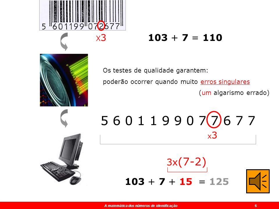 X3 103 + 7 = 110. Os testes de qualidade garantem: poderão ocorrer quando muito erros singulares.
