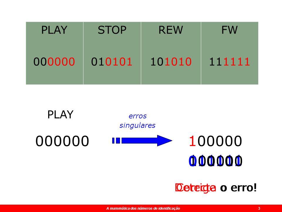 PLAY 000000. STOP. 010101. REW. 101010. FW. 111111. PLAY. erros singulares. 000000. 100000.