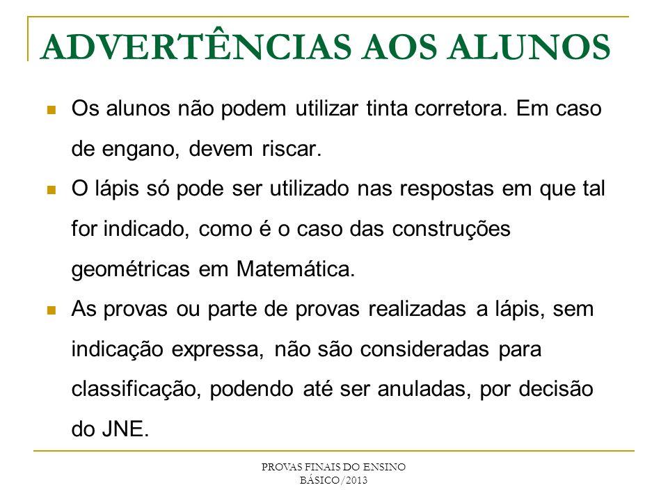 ADVERTÊNCIAS AOS ALUNOS
