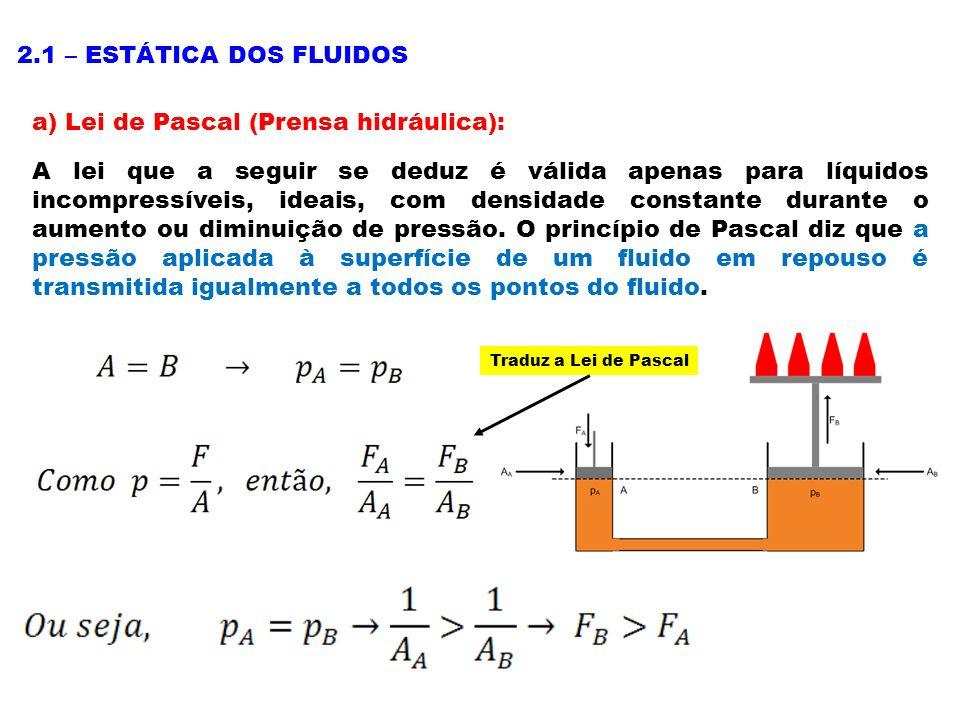 a) Lei de Pascal (Prensa hidráulica):