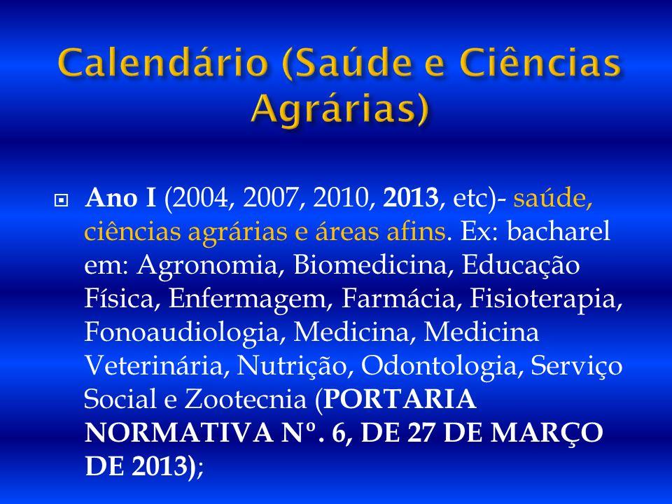 Calendário (Saúde e Ciências Agrárias)