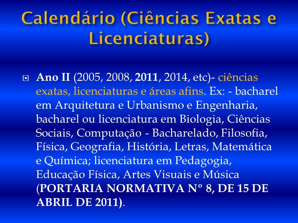 Calendário (Ciências Exatas e Licenciaturas)