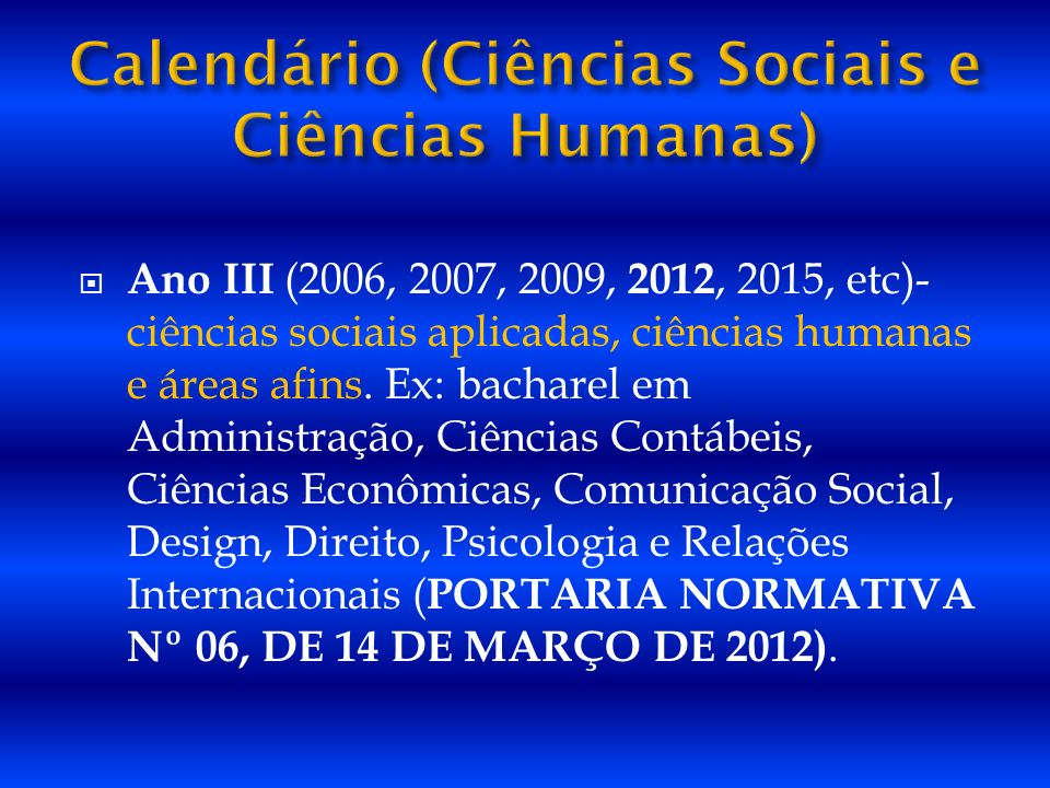 Calendário (Ciências Sociais e Ciências Humanas)