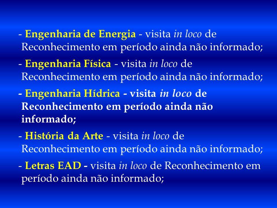 - Engenharia de Energia - visita in loco de Reconhecimento em período ainda não informado;